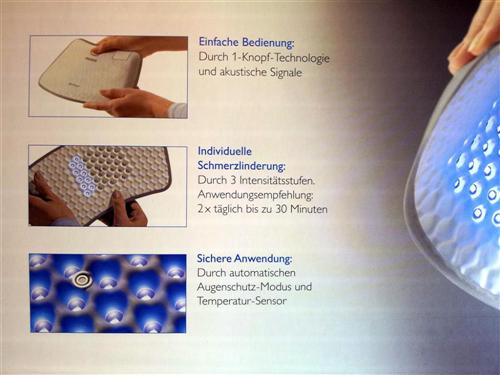 Philips BlueTouch Pain Relief Patch - Details Innenseite Deckel